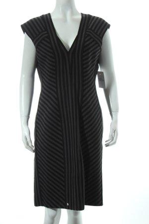 Strenesse Wollkleid schwarz-grau Streifenmuster Eleganz-Look