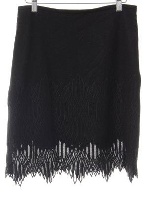 Strenesse Wollrock schwarz abstraktes Muster Elegant