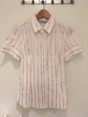 Stretch-Bluse mit goldenen Streifen von ZARA in Größe 38 (L)