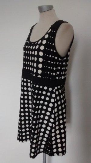 Stretch Etuikleid Punkte schwarz weiß retro M&S Gr. M 40 neu! Bürokleid