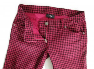 Stretch Hose Gina Größe M 38 Schwarz Pink Lila Purpur Pepitta Hahnentritt Punk Hüft 80er 90er Retro Design