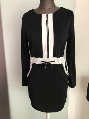 Stretch Kleid Gr 38 40 S/M schwarz-weiß