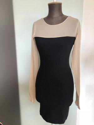 Stretch Kleid mit Chiffon Details Gr 32 34 XS Von Cos