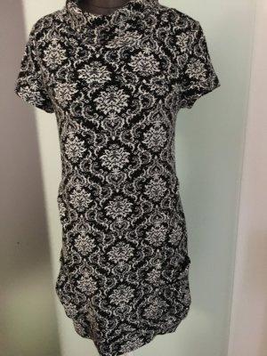 Stretch Kleid Tunika Gr 34 36 XS S von Apricot schwarz-weiß mit Muster