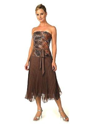 Vestido elástico marrón-beige