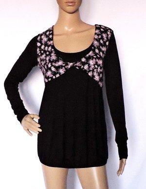 Stretch Shirt Bluse Tunika mit Rosen bedruckt schwarz lila weiß  34/36