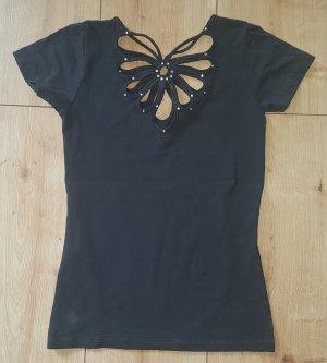Stretch Shirt Kurzarm mit Etikett D&G Dolce & Gabbana Strass Abend Edel Chic Gala Party Dunkelgrau XS 34