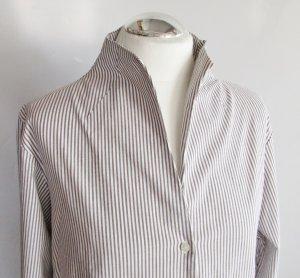 Stretch Streifen Bluse Stanfield Größe XL 42 44 Braun Weiß Klassisch Stehkragen Langarm Hemd Business
