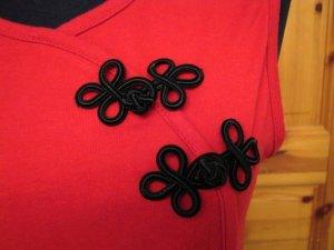 Stretch Top Größe S Rot Ärmellos Shirt Cross-Over V-Neck