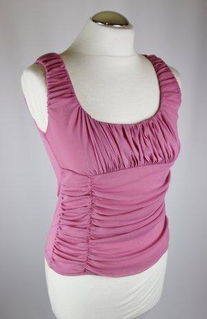 Stretch Top Shirt Mesh Mng Mango Größe M 38 Rose Rosa altrosa Raffung Rüschen Cropped Kurztop