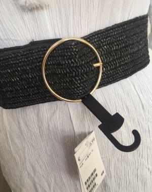 H&M Cinturón trenzado negro-color oro