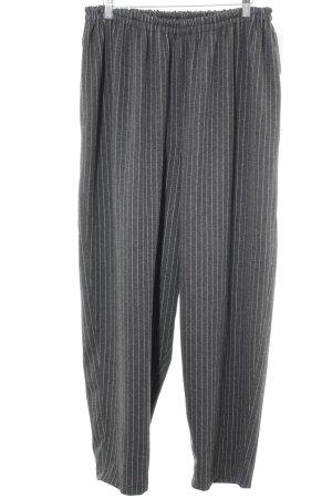 Pantalone elasticizzato grigio-bianco motivo a righe stile casual