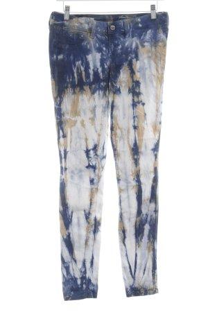 Pantalone elasticizzato blu acciaio-beige Motivo schizzi di pittura
