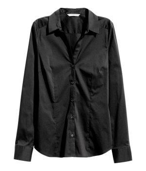H&M Hemdblouse zwart Gemengd weefsel