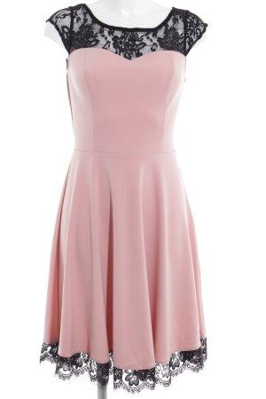 Abito elasticizzato rosa antico-nero elegante