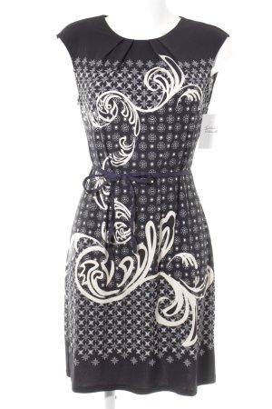 Robe stretch noir-beige clair motif abstrait style décontracté