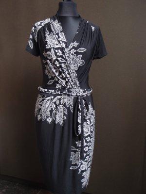 Stretchkleid schwarz mit Blumen -  Gr. M