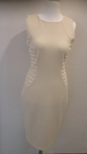 Vestido elástico crema tejido mezclado