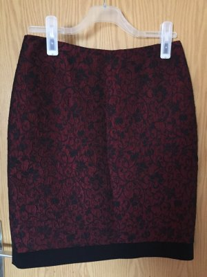 Jupe tricotée noir-bordeau polyester