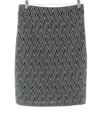 Stretchrock schwarz-weiß abstraktes Muster Casual-Look