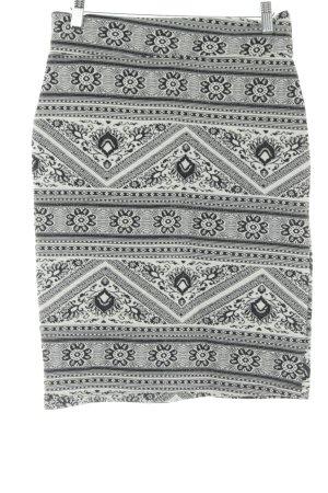 Stretch rok zwart-wit abstract patroon feest stijl