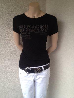Zara T-shirt noir tissu mixte