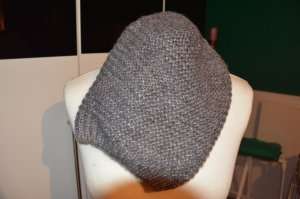 Strick Beanie warme Mütze grau metallic
