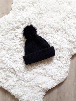 Strick-Bommelmütze schwarz onesize