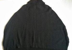 STRICK CAPE schwarz STRADIVARIUS GROBSTRICK Jacke UMHANG mit ÄRMEL Gr. S 36 NEU