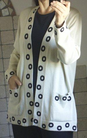 Strick Cardigan, Adem's Maßkonfektion, Strickjacke, beige, sand mit Bordüre Kreise Muster in schwarz, wunderschön, hochwertig, handmade in Austria Designer, 60% Modal, 40% Cotton, elegant,  hoher NP € 150,- Gr. L Gr. 42