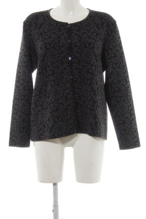 Cardigan tricotés noir-gris anthracite motif floral style décontracté