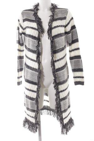 Strick Cardigan schwarz-weiß Streifenmuster Casual-Look