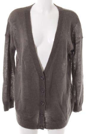 Strick Cardigan taupe-goldfarben grafisches Muster Casual-Look