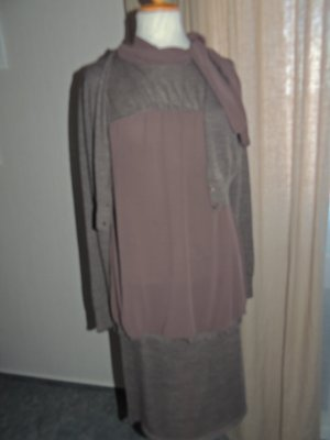 Acciaio Robe en maille tricotées brun-brun foncé laine