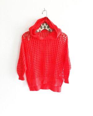 strick hoodie / vintage / korallen rot / netz / pullover / pulli