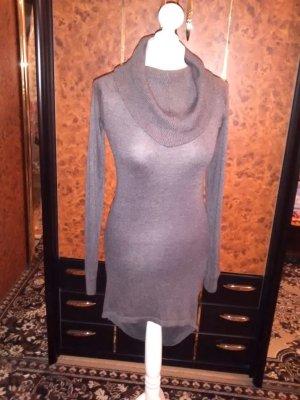 Gebreide jurk grijs-bruin