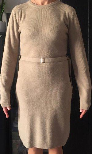Strick Kleid in Beige