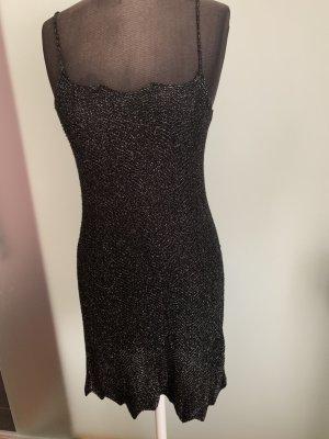 Benetton Gebreide jurk zwart-zilver