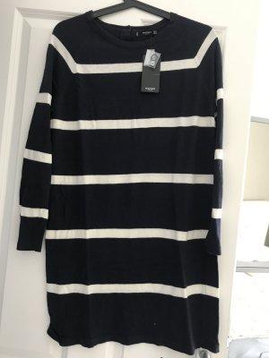 Mango Abito maglione blu scuro-bianco