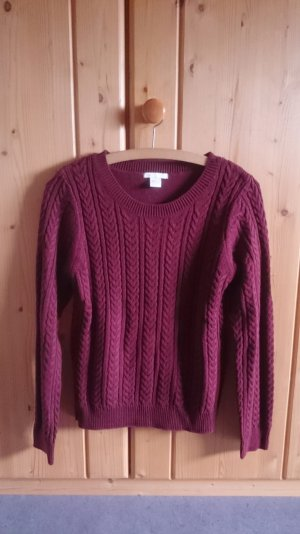 Strick Knit Zopfmuster Norweger Pulli weinrot bordeaux 36 S