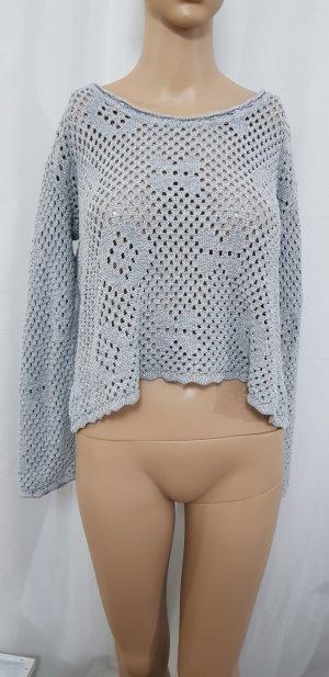 strick #lochmuster pullover grau