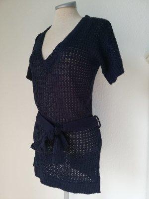 Strick Long Pullover Kleid Häkel Gr. 38/40 S M NEU dunkelblau + Gürtel