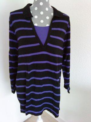 Camiseta tipo polo negro-violeta oscuro