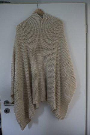 Primark Gebreide poncho wit-goud Textielvezel