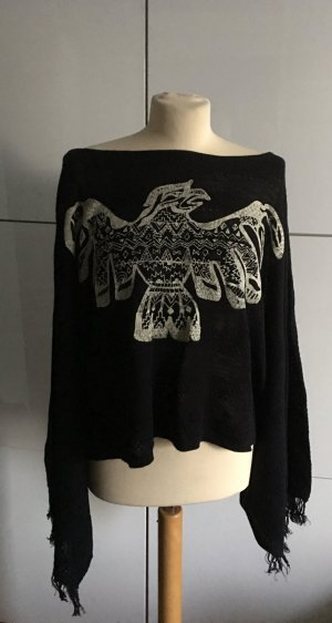 Strick Poncho mit Adler Print vorne Kimono Ärmel