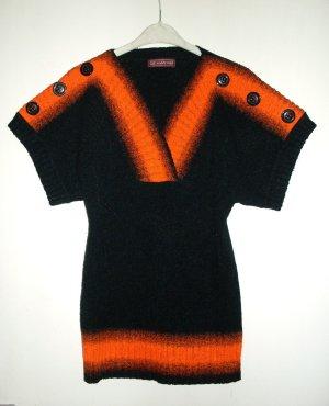 Short Sleeve Sweater black-orange polyester