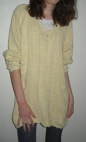 Strick Pulli Pullover creme beige Blumen Zopf Leinen Baumwolle XS S M 36 38 Long