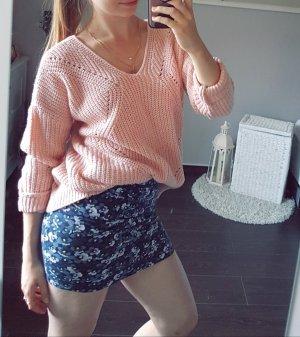 Strick Pulli Pullover rosa rosé Strickmuster V-Ausschnitt dick warm