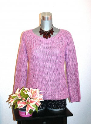 Strick Pullover gr.40/42 Pink Silber Glitter