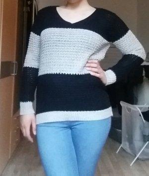 Strick Pullover Gr. L schwarz grau